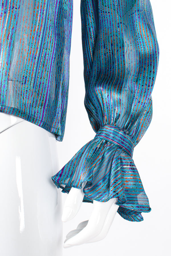 Vintage Carlisle Sheer Paisley Stripe Silk Ruffle Blouse on mannequin sleeve cuff at Recess LA