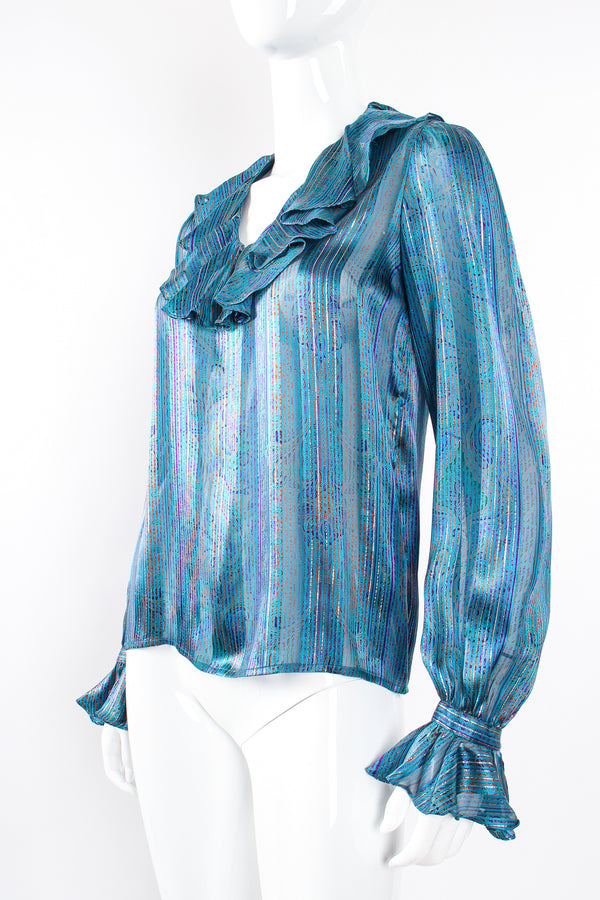 Vintage Carlisle Sheer Paisley Stripe Silk Ruffle Blouse on mannequin front angle at Recess LA