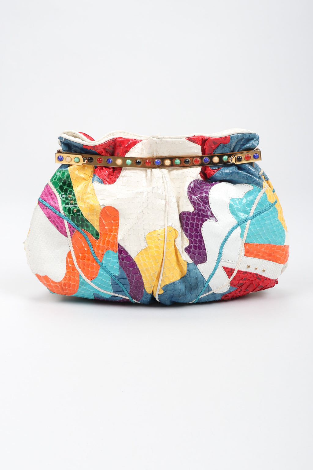 Recess Los Angeles Vintage Carlo Fiori Rainbow Collage Patchwork Snake Pouch Bag