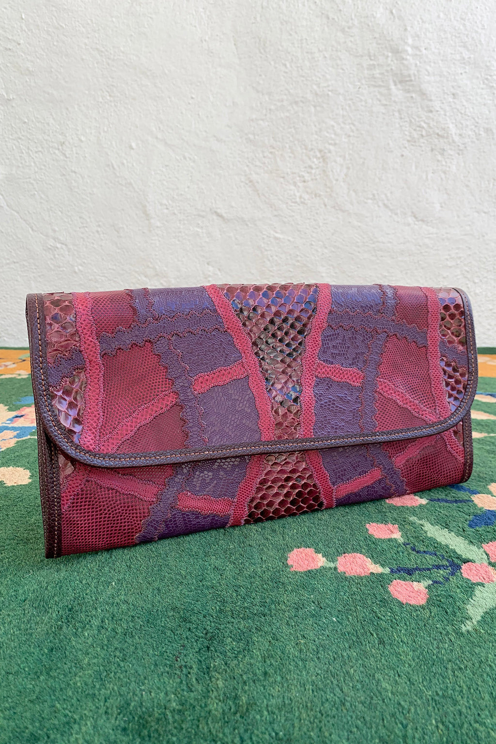 Vintage Carlos Falchi Pink Purple Lizard Snake Patchwork Clutch at Recess Los Angeles