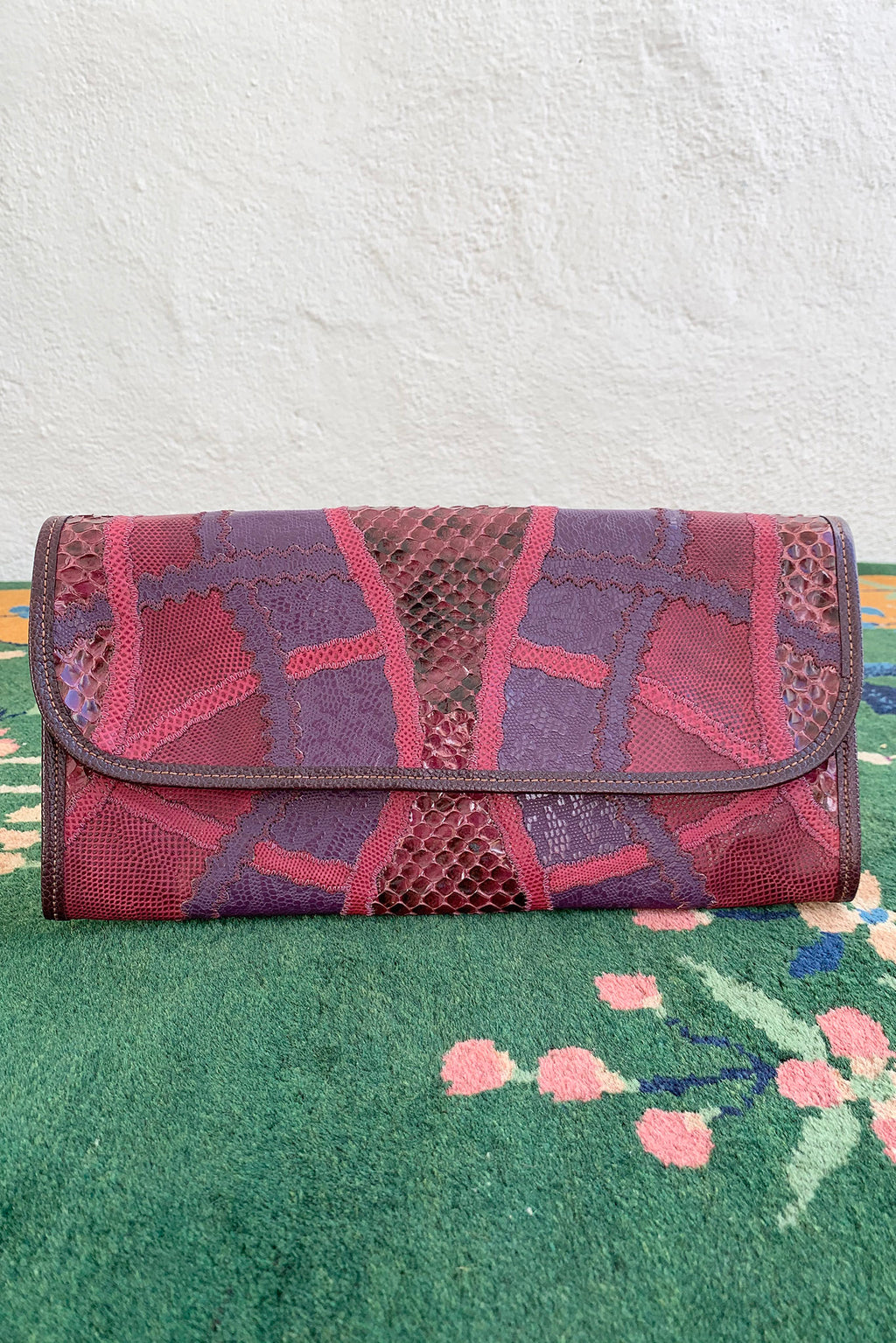 Vintage Carlos Falchi Pink Purple Lizard Snake Patchwork Clutch Front at Recess Los Angeles