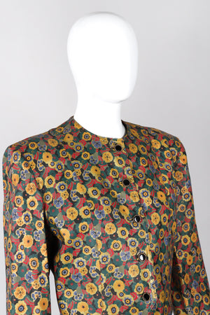 Recess Los Angeles Vintage Carlos Falchi Floral Leather Painted Jacket Collarless Button Down