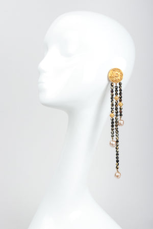 Vintage Carlos Falchi Long Beaded Disc Drop Shoulder Duster Earrings on Mannequin
