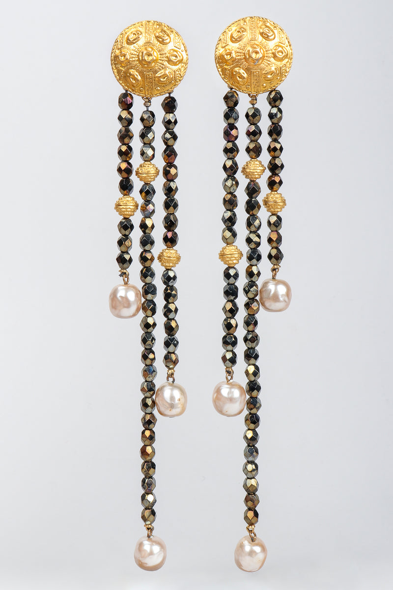 Vintage Carlos Falchi Long Beaded Disc Drop Shoulder Duster Earrings at Recess Los Angeles