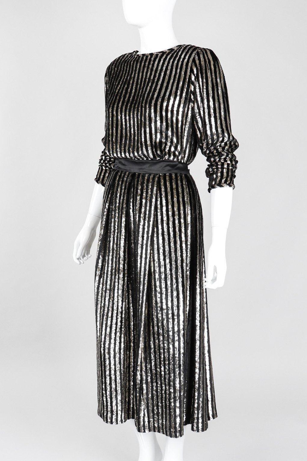 Recess Los Angeles Vintage Caroline Charles Metallic Gold Striped Velvet Lamé Top and Skirt Set