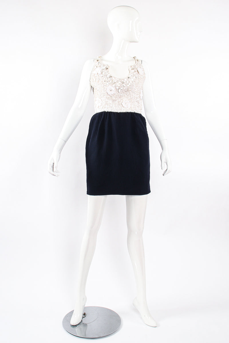 Vintage Carolyne Roehm Embellished Floral Bodice Dress on Mannequin front at Recess Los Angeles