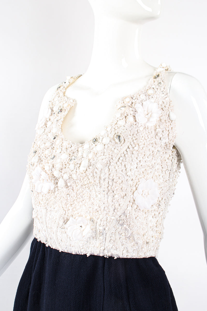Vintage Carolyne Roehm Embellished Floral Bodice Dress on Mannequin bust at Recess Los Angeles