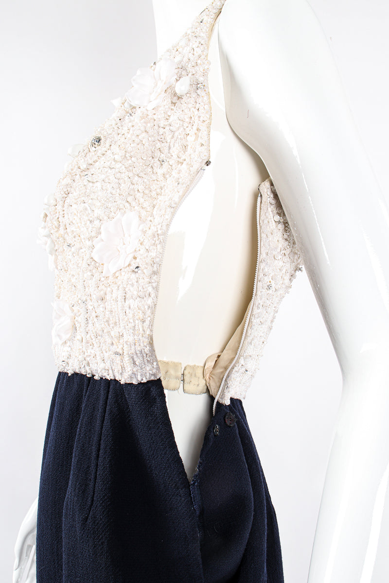 Vintage Carolyne Roehm Embellished Floral Bodice Dress on Mannequin side zip at Recess Los Angeles