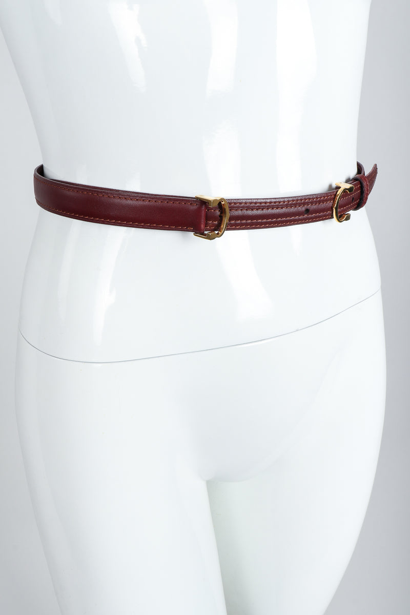 Vintage Cartier Oxblood Double CC Leather Belt On mannequin at Recess