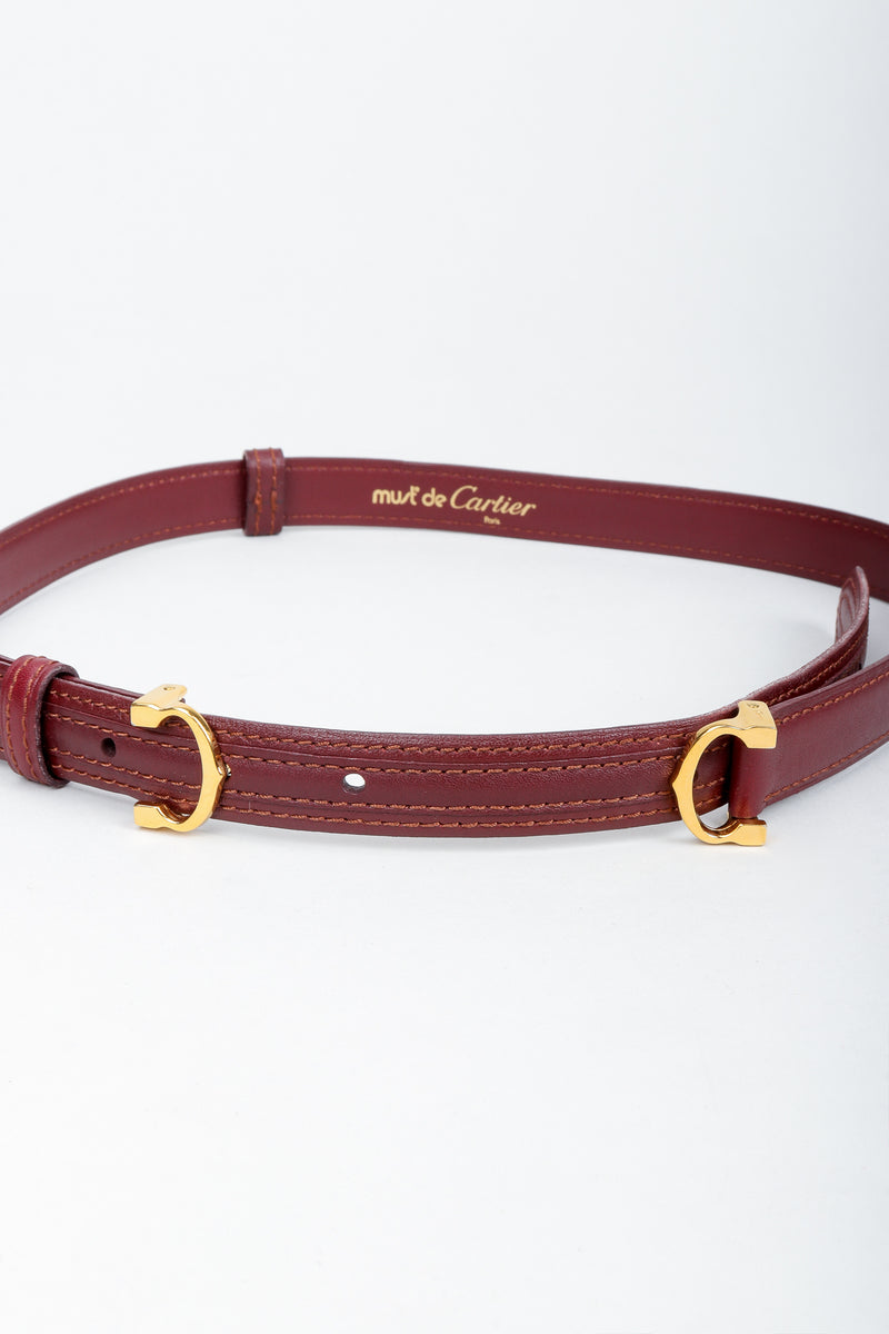 Vintage Cartier Oxblood Double CC Leather Belt at Recess Los Angeles on Grey