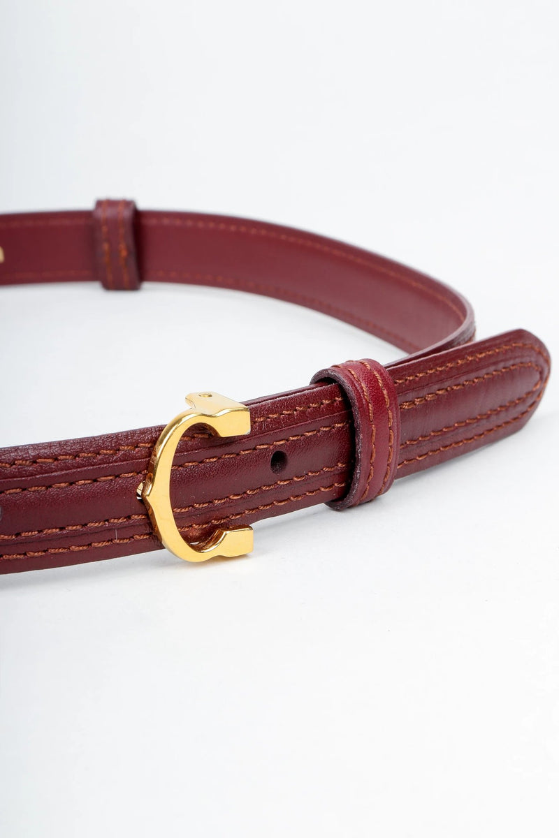 Vintage Cartier Oxblood Double CC Leather Belt Buckle Detail at Recess