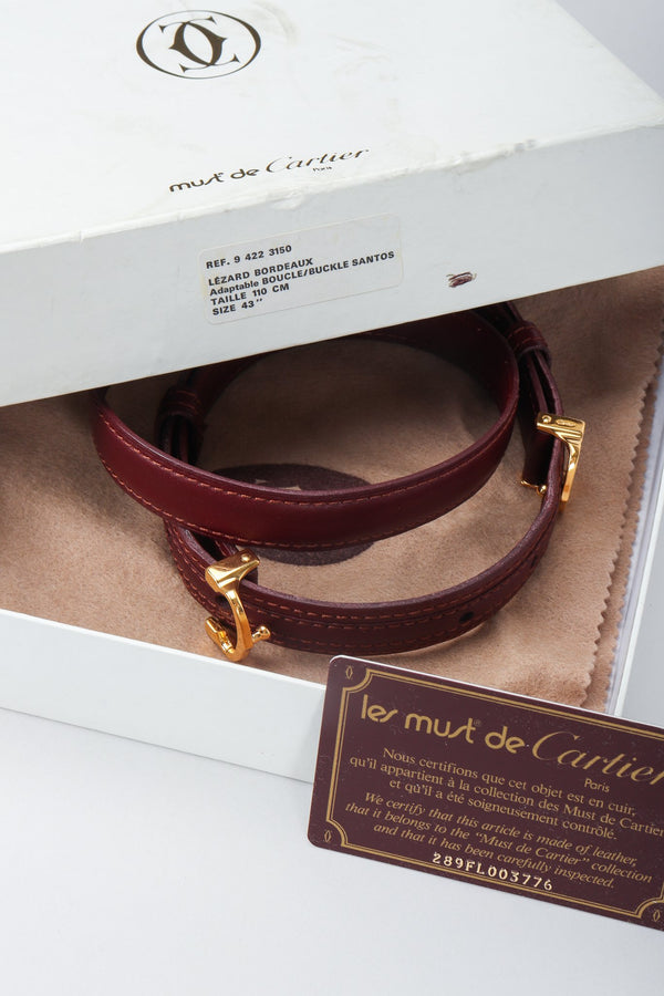 Vintage Cartier CC Logo Buckle Leather Belt Box Set with Certification at Recess Los Angeles