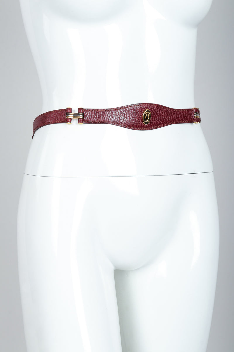 Vintage Cartier Oxblood CC Logo Medallion Leather Belt on mannequin