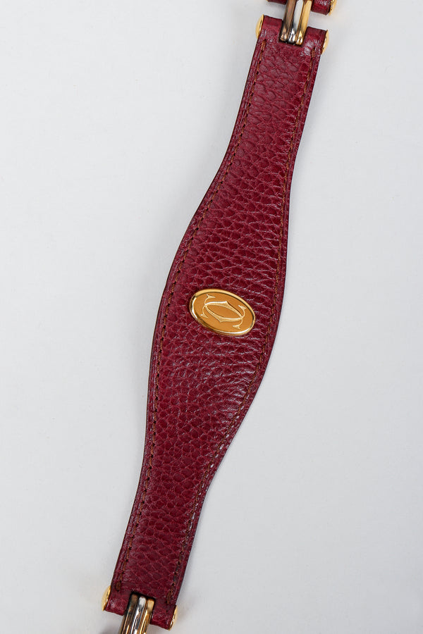 Vintage Cartier Oxblood CC Logo Medallion Leather Belt at Recess Los Angeles