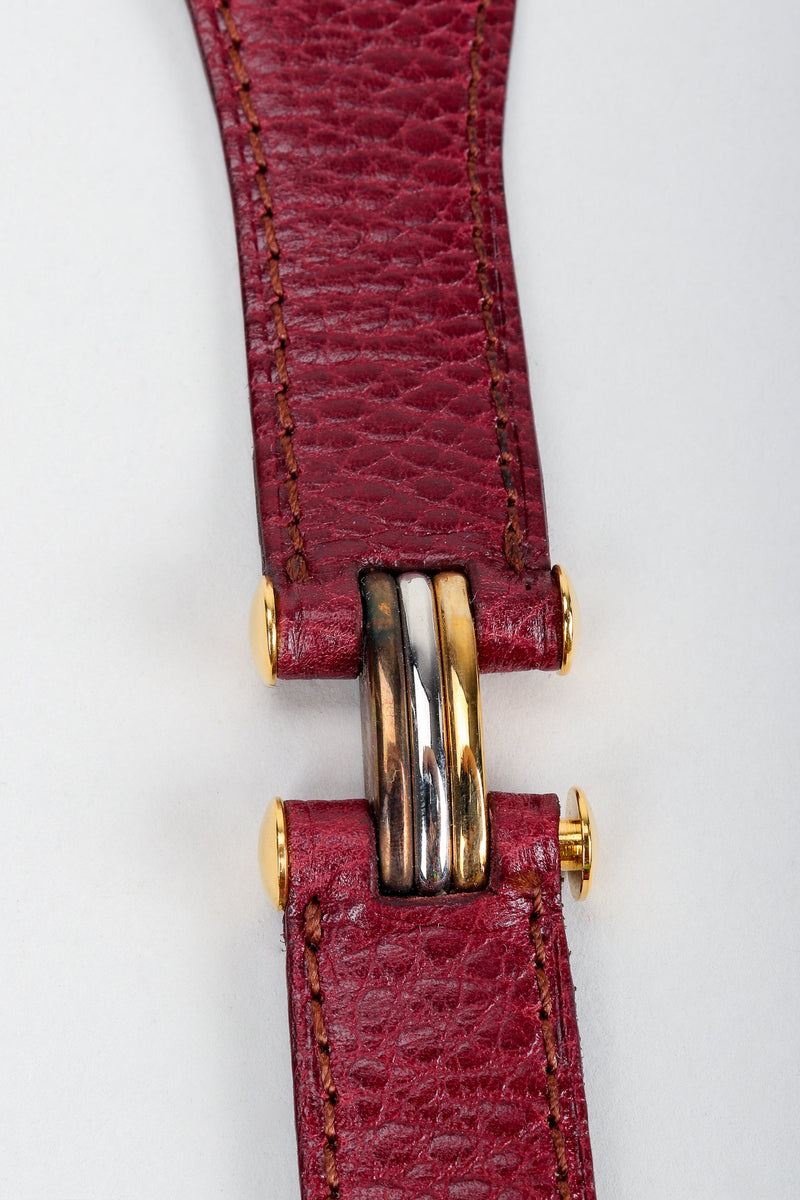 Vintage Cartier Oxblood CC Logo Medallion Leather Belt Hinge Detail
