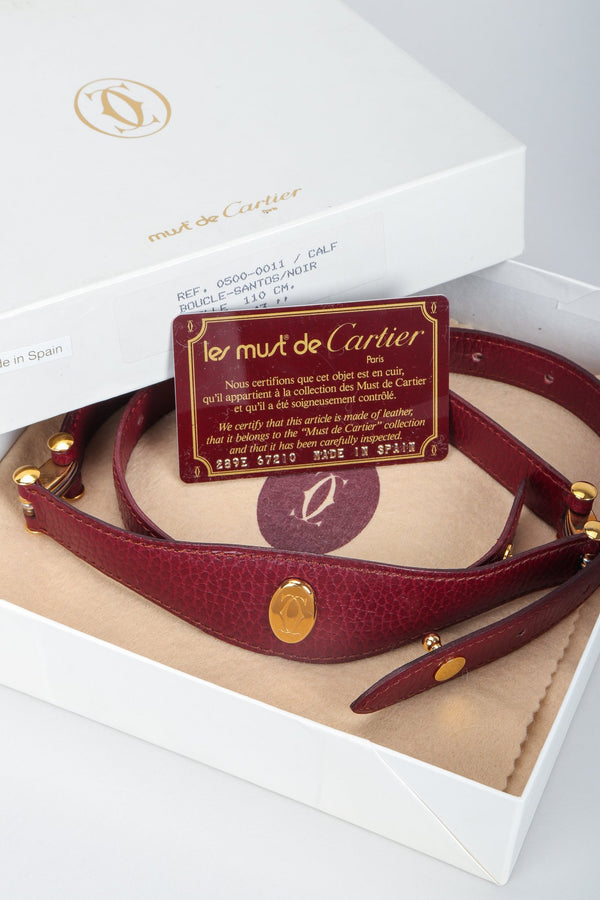 Vintage Cartier CC Logo Medallion Leather Belt Box Set with Certification at Recess Los Angeles