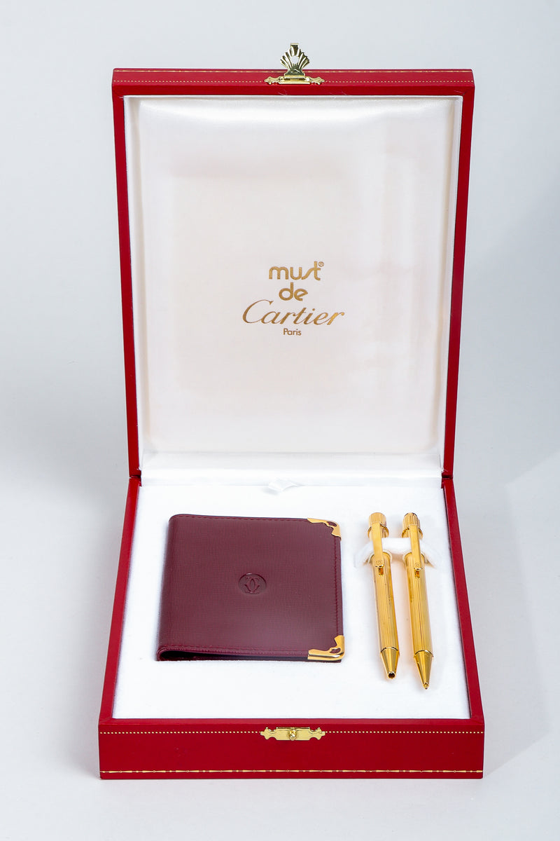 Vintage Must de Cartier Oxblood Leather Wallet & Gold Pen Boxed Gift Set in box