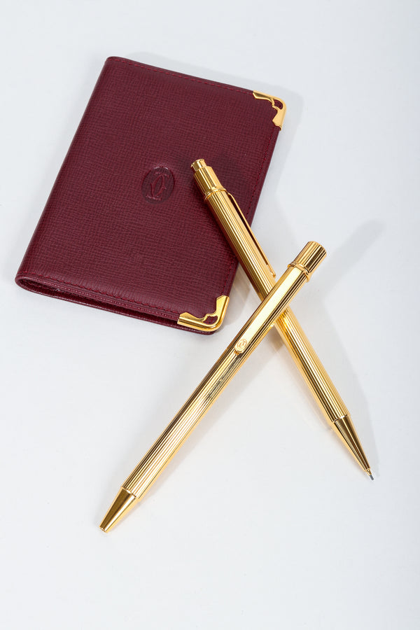 Vintage Must de Cartier Oxblood Leather Wallet & Gold Pen Boxed Gift Set