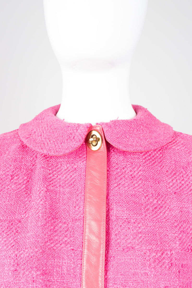Bonnie Cashin for Sills Pink Tweed Boucle Turnlock Swing Coat