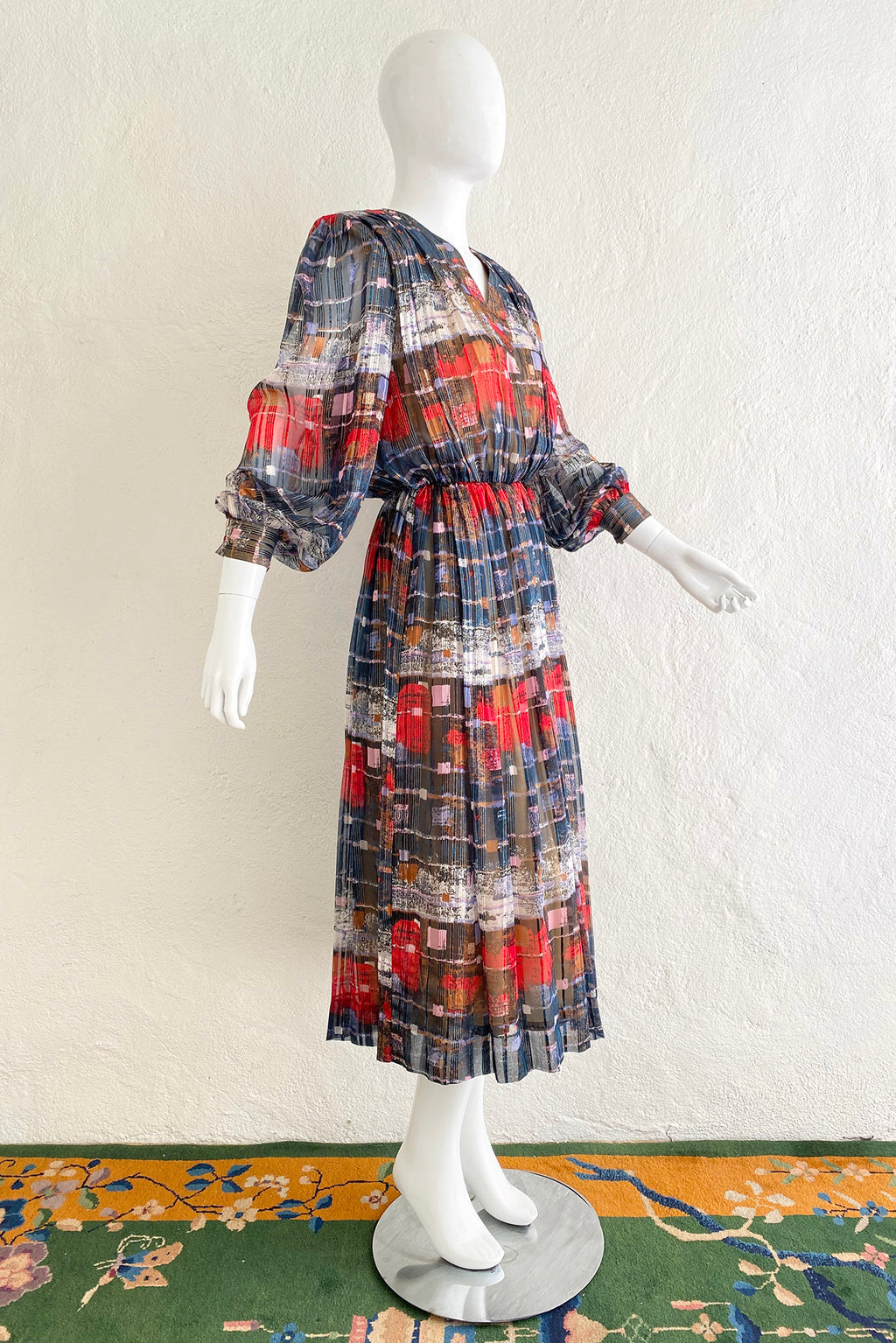 Vintage Casi Chiffon Abstract Square Print Dress on Mannequin Side at Recess Los Angeles