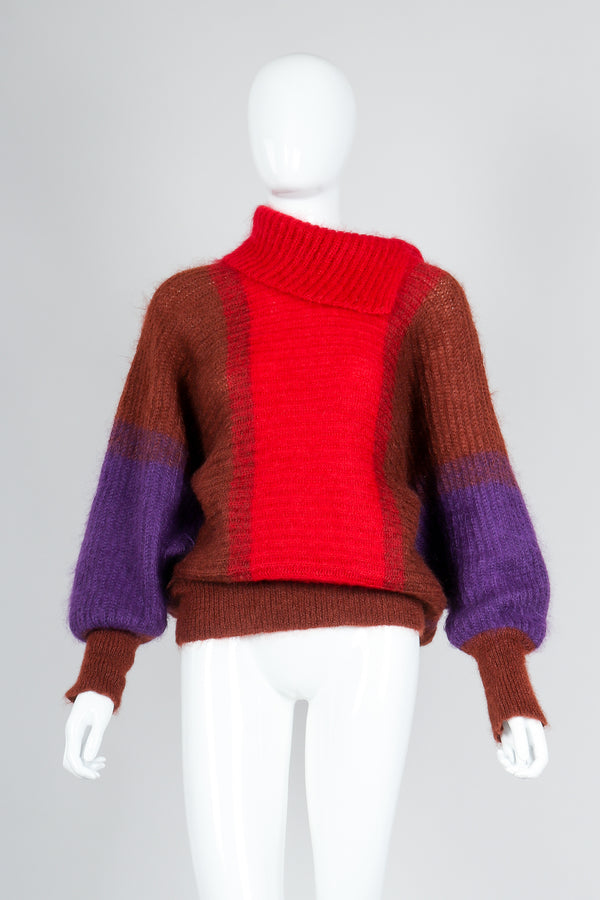 Recess Vintage Cedrics Ombre Fuzzy Mohair Dolman Sweater on Mannequin, front