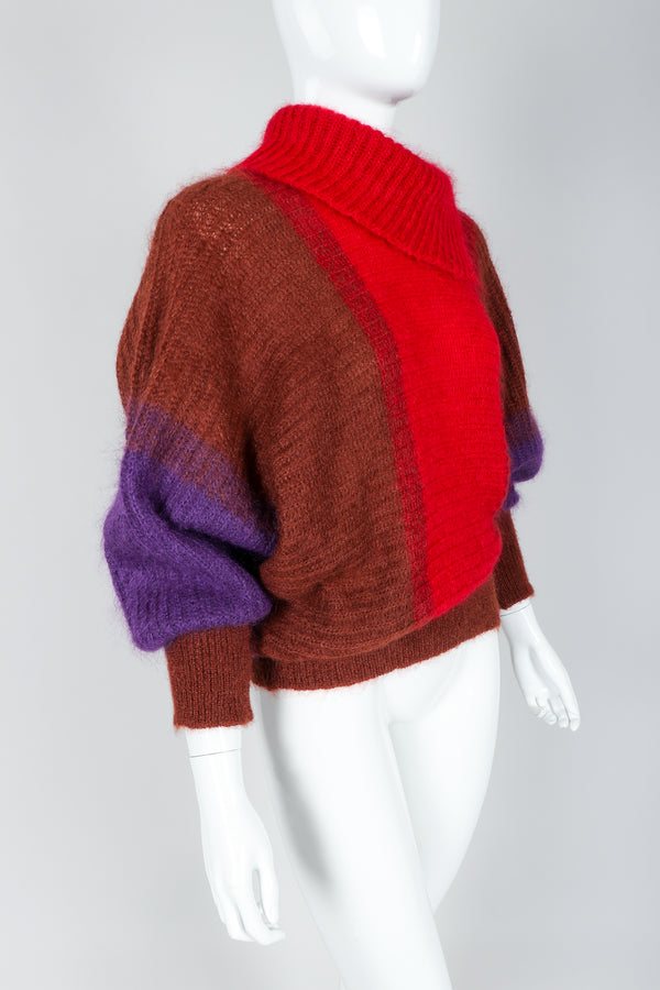 Recess Vintage Cedrics Ombre Fuzzy Mohair Dolman Sweater on Mannequin, sleeves pushed up