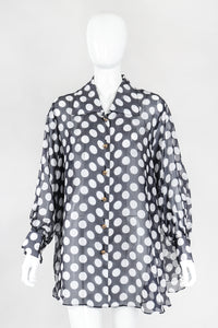Recess Los Angeles Designer Consignment Vintage Celine Sheer Silk Organza Polka Dot Swing Trapeze Shirt