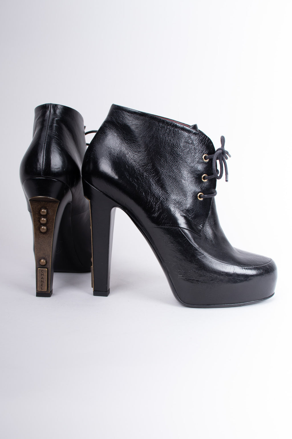 Chanel Lace-Up Platform Steampunk Ankle Boots