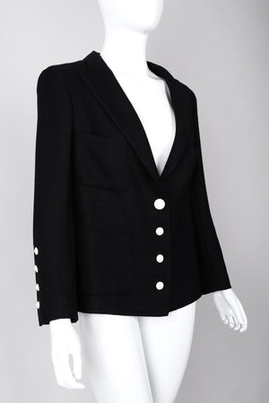 Recess Los Angeles Vintage Chanel Black Cotton Jacket Classic Silk Lining