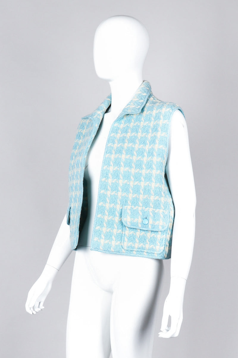Recess Los Angeles Vintage Chanel Baby Blue Checkered Knit Vest