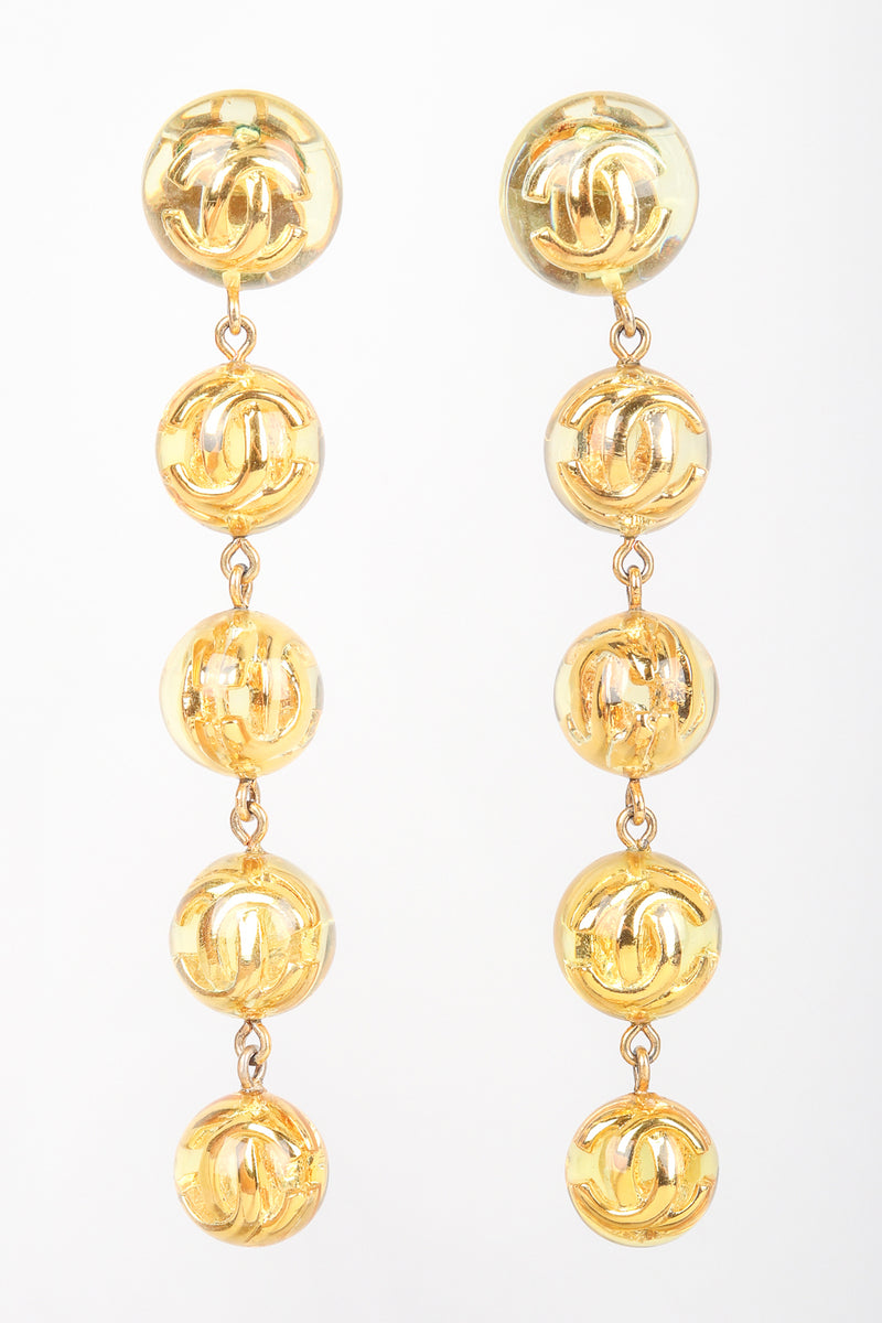 Recess Designer Consignment Vintage 1980s Chanel Logo Lucite CC Ball Drop Earrings Los Angeles Resale