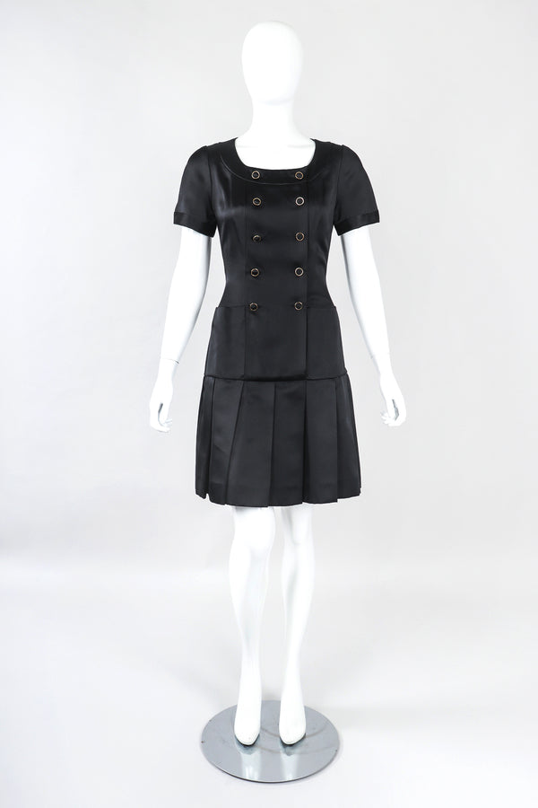 Recess Designer Consignment Vintage Chanel Double Breasted Drop Waist Satin Uniform Dress Los Angeles Resale