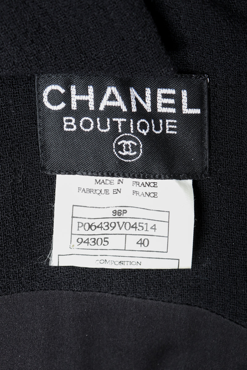 Vintage Chanel Label on black Fabric