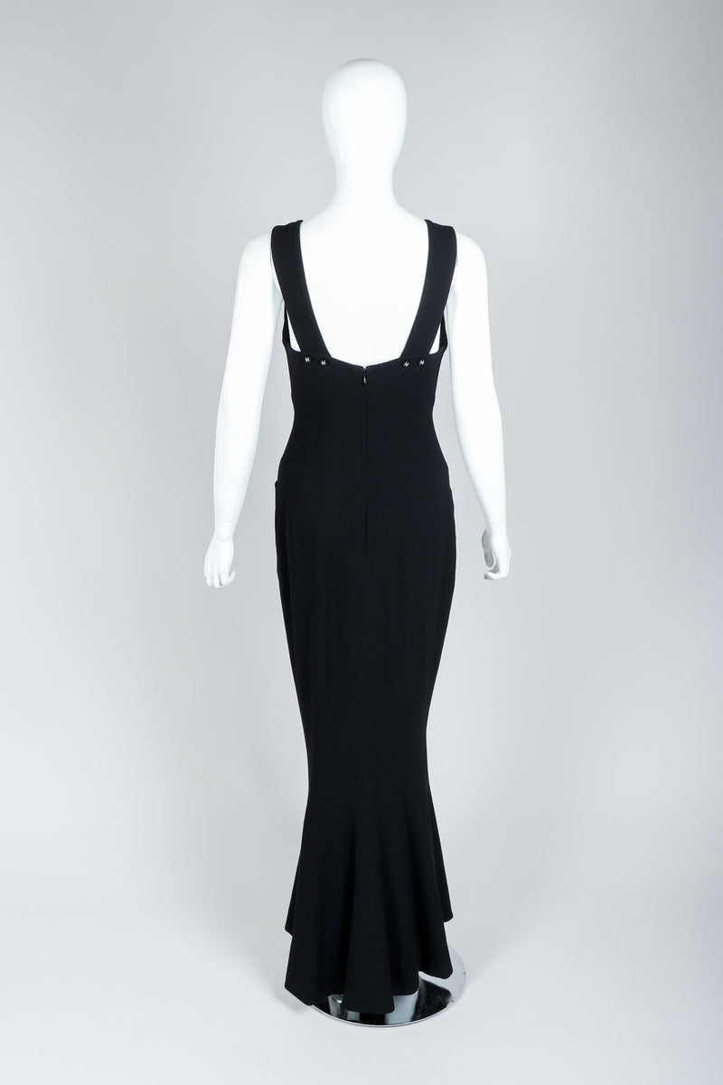 Vintage Chanel Breakfast At Tiffany's Style Black Fishtail Gown on Mannequin, Back