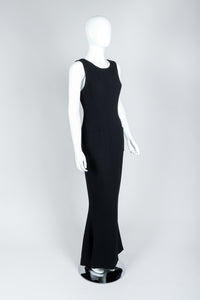 Vintage Chanel Breakfast At Tiffany's Style Black Fishtail Gown on Mannequin, Side