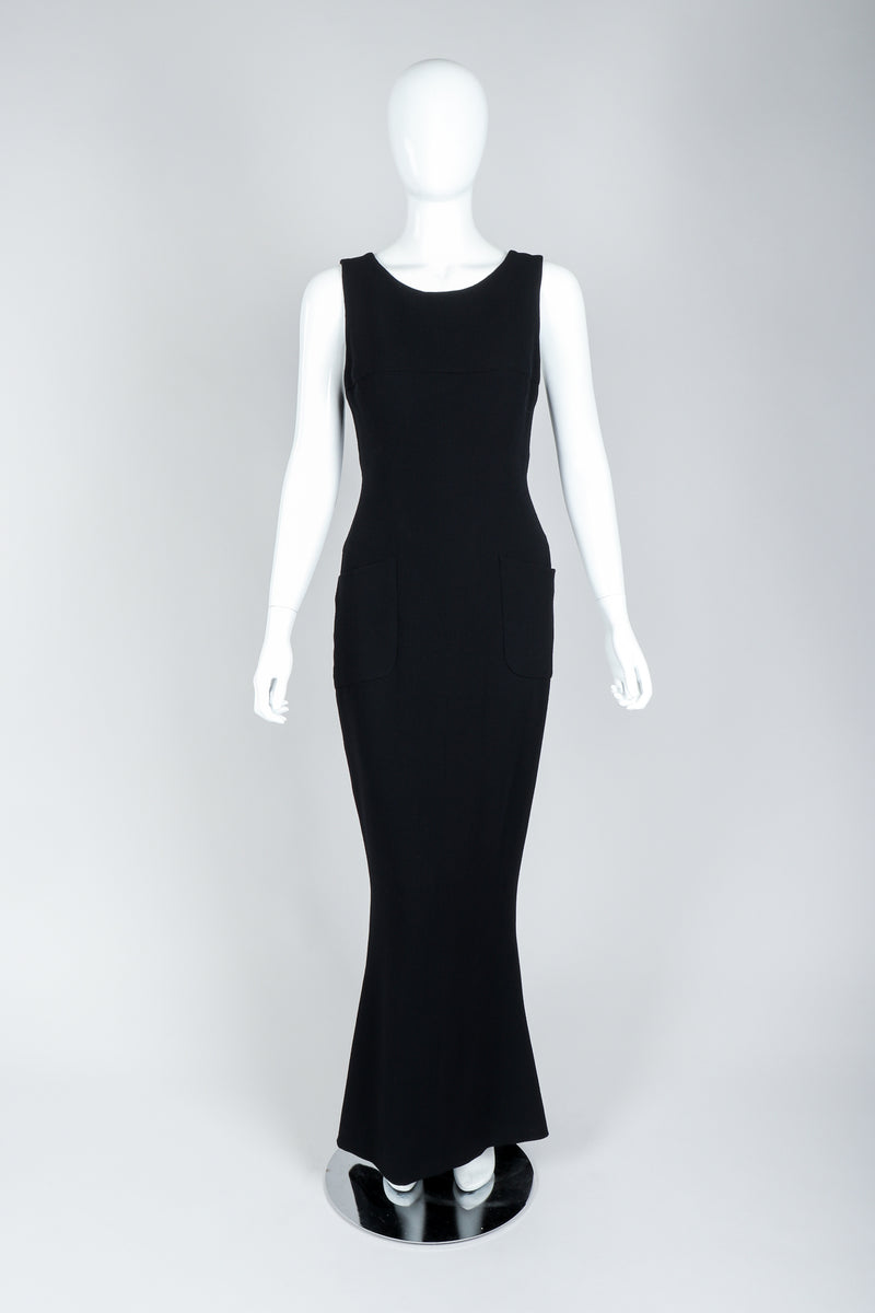 Vintage Chanel Breakfast At Tiffany's Style Black Fishtail Gown on Mannequin, Front