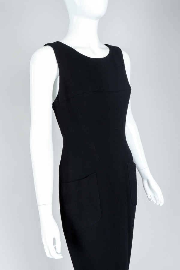 Vintage Chanel Breakfast At Tiffany's Style Black Fishtail Gown on Mannequin, Close Up