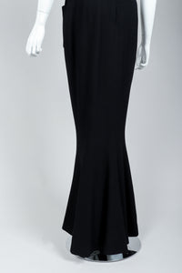 Vintage Chanel Breakfast At Tiffany's Style Black Fishtail Gown on Mannequin, Skirt