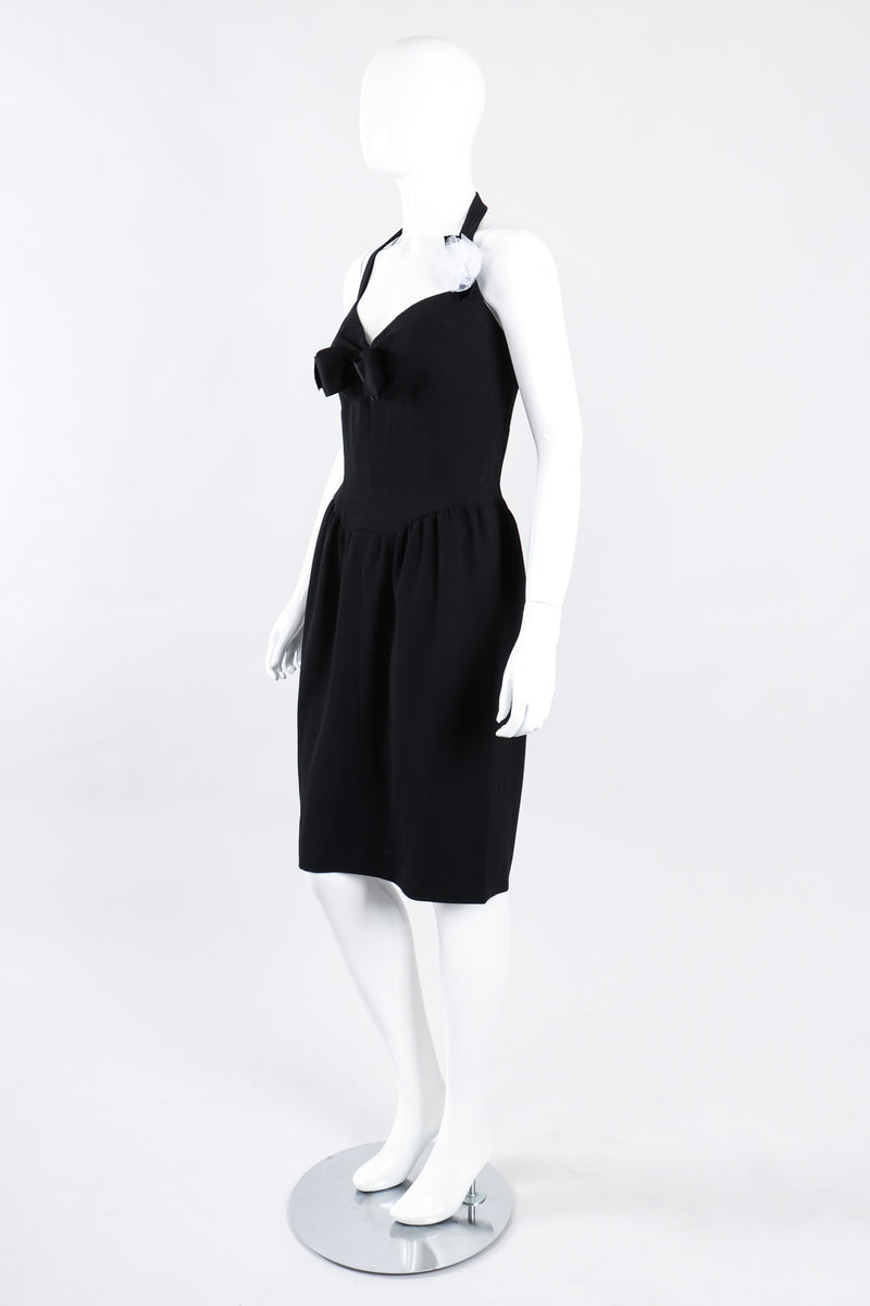 Recess Los Angeles Vintage Chanel Numbered Halter Corset Camellia Cocktail Dress LBD