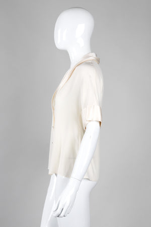 Recess Los Angeles Vintage Chanel Cream Shawl Collar Silk Blouse