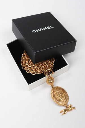 Recess Los Angeles Vintage Chanel Gold Horse Medallion Layering Pendant Necklace