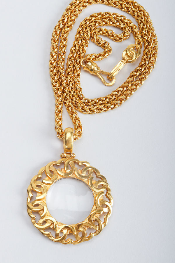 Vintage Chanel Gold CC Logo Magnifying Glass Pendant Necklace