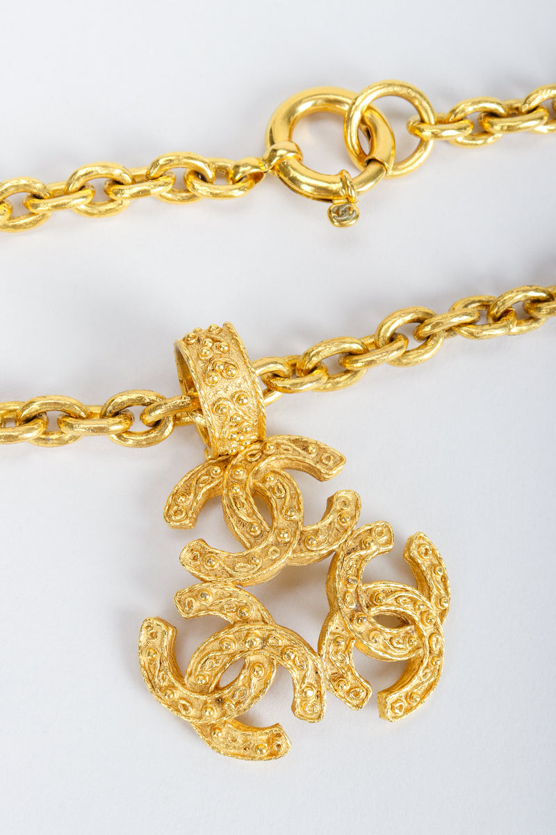 Vintage Chanel Gold Long Triple CC Logo Pendant Necklace and clasp