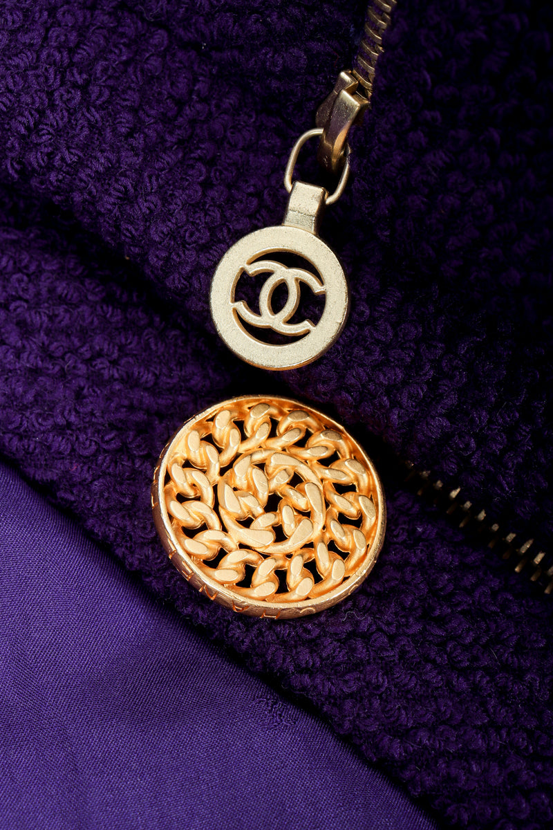 Vintage Chanel Zipper Hardware Bouclé Jacket logo zipper pull and chain link button