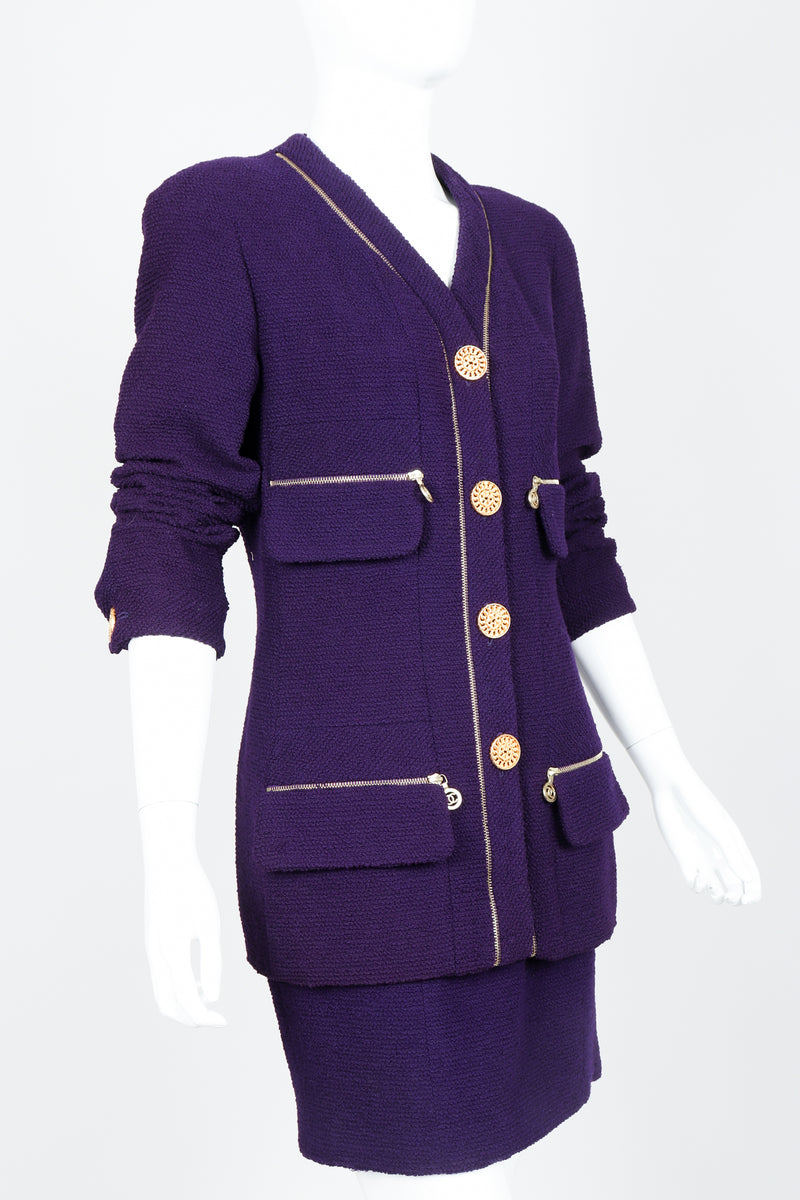 Vintage Chanel Zipper Hardware Bouclé Jacket & Skirt Set on Mannequin Cropped at Recess