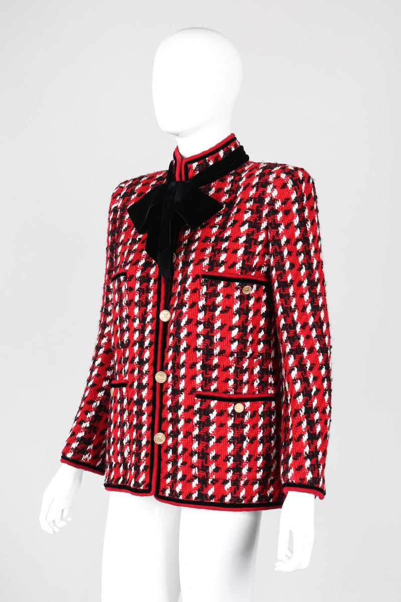 Recess Los Angeles Vintage Chanel Numbered Haute Couture Houndstooth Pussy Bow Jacket