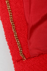 Recess Vintage Chanel Red Curved Lapel Bouclé Jacket, Chain Hem