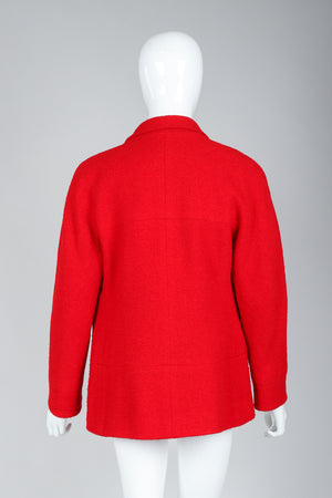 Recess Vintage Chanel Red Curved Lapel Bouclé Jacket on Mannequin, Back