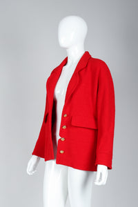Recess Vintage Chanel Red Curved Lapel Bouclé Jacket on Mannequin, Unbuttoned