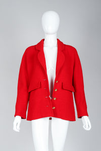 Recess Vintage Chanel Red Curved Lapel Bouclé Jacket on Mannequin, Unbuttoned Front